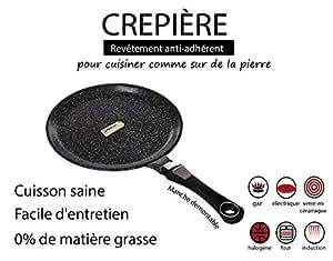 GREBLON Poêle à crêpes à induction antiadhésive Pierre de style 28 cm, + (poignée