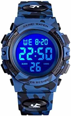 Boys Watch Digital Sports 50M Waterproof Watches Boys Girls Children Analog Quartz Wristwatch with Alarm - Camo Blue