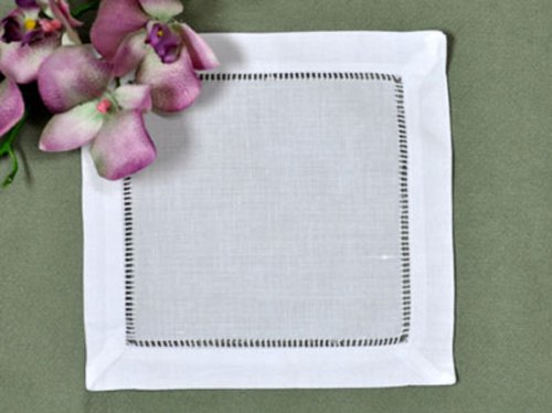 Handmade Basic Hemstitch Coasters Cocktail Napkins, 55% Linen – 45% Cotton, 6-piece Set (white)