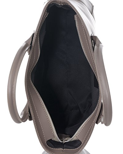 Laura Moretti - Bolso de piel auténtica con bolsillos interiores y cierre de cremallera Taupe