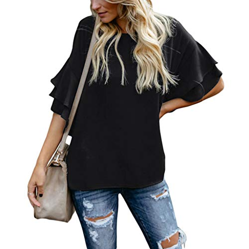 Witspace Women Casual Solid Round Neckline Loose Shirts Flare Sleeve Blouse Tops ()