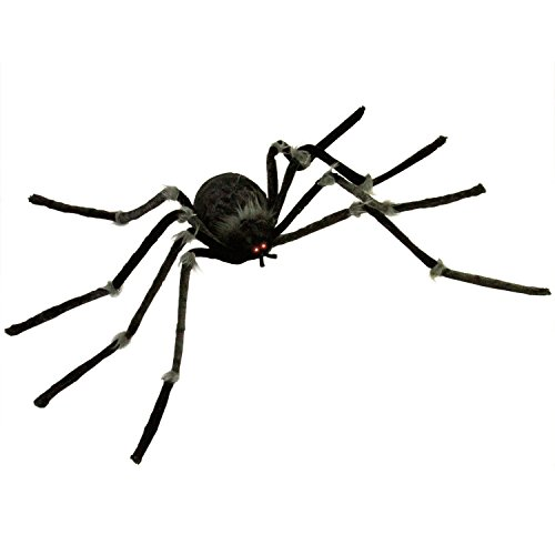 Halloween Haunters Animated Hanging 4 Foot Scary Black Spider, Shaking Moving Speaking with LED Eyes Prop Decoration - Creepy Crawly Fury Legs - Display in Yards, Entryways, Haunted House Graveyards -