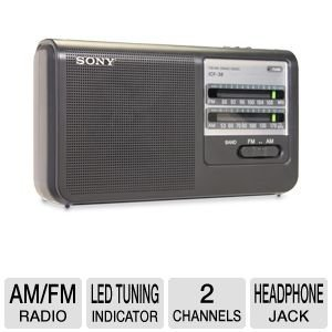 Sony All in One Pocket Size Portable AM/FM Radio with Built-in Speaker (Sony Fm Am Cd Kitchen Clock Radio)