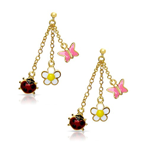 Jewelry for Girls - Garden Charms Dangle Earrings - Gold Plated with Enamel - By Lily Nily - Gold Plated Lily