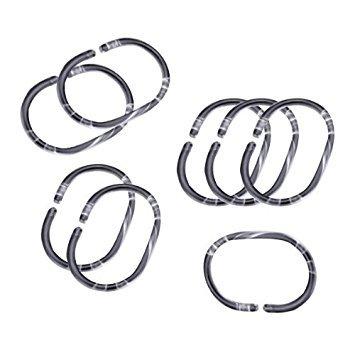SODIAL(R) 12Pcs Plastic Bathroom Shower Curtain Hooks Rings - Clear