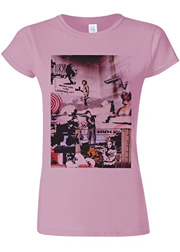 抗議拒絶提案Banksy Street Art Graffiti Novelty Light Pink Women T Shirt Top-S
