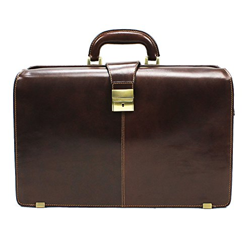 CUSTOM PERSONALIZED INITIALS ENGRAVING Tony Perotti Mens Italian Bull Leather Benevento Double Compartment Lawyer's Leather Laptop Briefcase in Brown by Tony Perotti