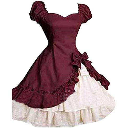 Partiss Women's Classic Lolita Fancy Dress Cosplay Costume Free Petticoat, XXL, White Dress Burgundy