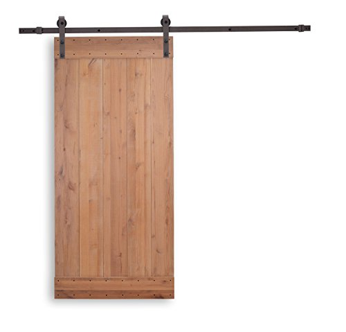 (Natural Knotty Alder Primed Wood DIY Barn Door with Sliding Wood Hardware Track Set)