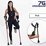 Ergobaum® Prime 6th Generation By Ergoactives. 1 Pair (2 Units) of Ergonomic Forearm Crutches - Adult 5' - 6'6'' Adjustable (Pink)