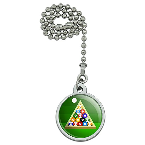 (GRAPHICS & MORE Billiard Balls and Triangle Pool Table Ceiling Fan and Light Pull Chain)