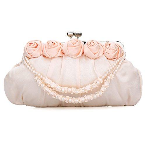 YYW Satin Clutch Bag - Cartera de mano para mujer Rose Pink