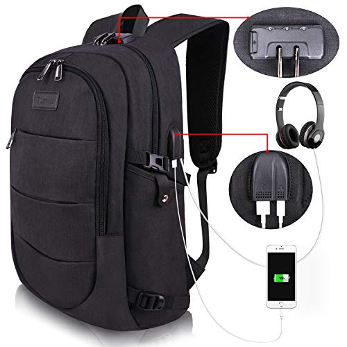 College Laptop Backpack Water Resistant Anti-Theft Bag with USB Charging Port and Lock 14/15.6 Inch Computer Business Backpacks for Women Men School Student,Bookbag Casual Hiking Travel Daypack Gift ()