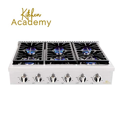 "Kitchen Academy Professional 36"" Stainless Steel Gas Rangetop Cooktop with 6 Gas Burners – HRT3618U (LP Conversion Not Included)"
