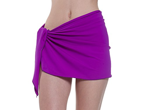 (Sythyee Women's Sarong Wrap Beach Swimwear Nylon Cover Up Short Pareo Bikini Swimsuit Wrap Skirt Bathing Suit Nylon Solid Purple)