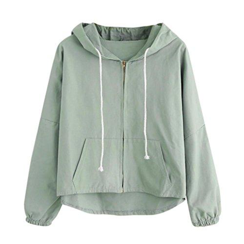 ABCone-Donna Pullover Felpa Cappotto Corto a Maniche Corte con orecchino Dolce T-Shirt Maniche Lunghe Elegante Autunno Camicette Camicie Casual Tops Verde