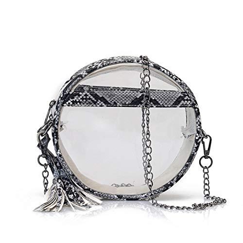 (RARITYUS Women Clear Snakinskin Pattern Crossbody Bag Round Transparent Purse Shoulder Handbag with Tassel)