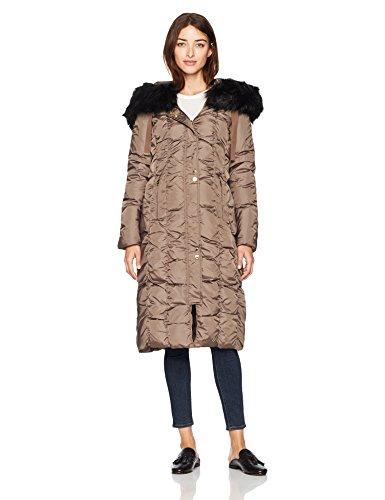 Removable Coat Via Fur Down Spiga Coat Down Latte Hood Maxi Skim with Trim Faux Womens V7 92998V 8wxFYq8gr