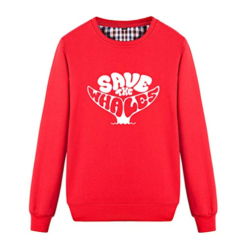 Unisex Save The Whales Funny Tail Graphic Sweatshirt (Red Small)