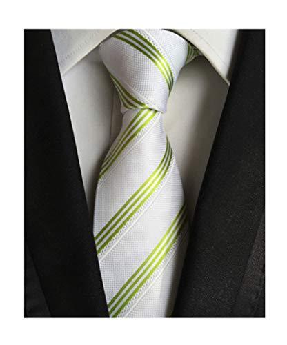 Secdtie Men's Green White Striped Jacquard Woven Silk Tie Formal Necktie LUD38