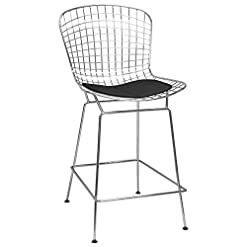 Kitchen Ergo Furnishings Mid-Century Modern Mesh Chrome Counter Stool, Black modern barstools