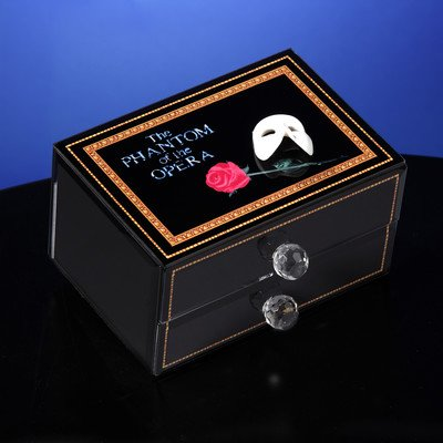 Phantom of the Opera Mask and Rose Glass Musical Drawer (Opera Musical Jewelry Box)
