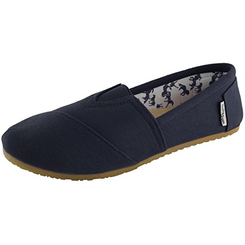 DailyShoes Women's Classic Flats Memory Foam Cushioned Soft Daily Slip-On Casual Sneaker Flat Shoes, Navy Linen, 8 B(M) US