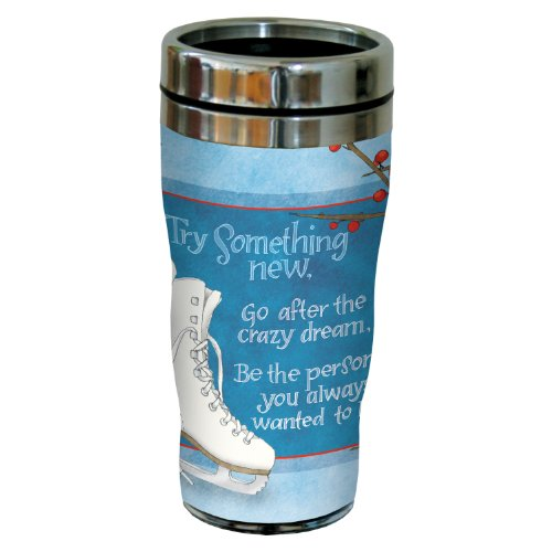 Tree-Free Greetings sg23479 Winter Figure Skates by Robin Pickens Sip 'N Go Stainless Steel Tumbler, 16-Ounce