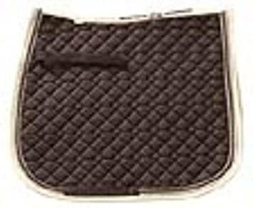 USG General Purpose Quillted Saddle Cloth with Double Rope Piping, Pony, Dark Green/ Ecru/ Brown with Border, Ecru/ Light Green UNJFB 58910