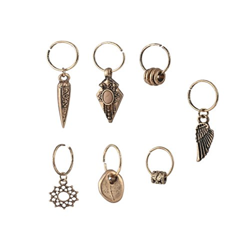 Fettero Hair Pierced Braid Ring Set Loops Clips Vintage Pendant Dangle Headband Accessories Unisex Natural Stone Inlay Carved Angel Wings Gold