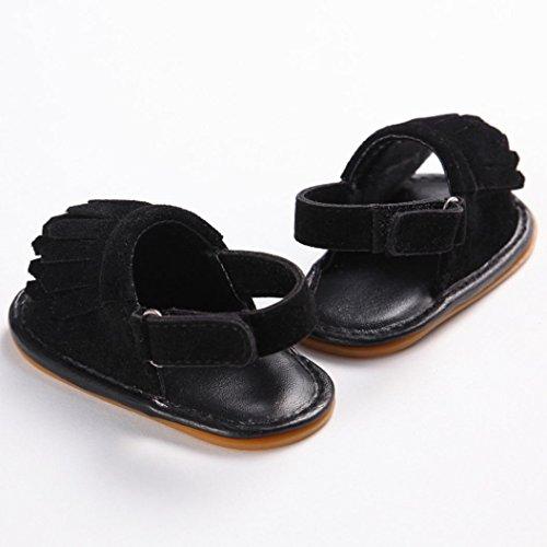 Saingace Kleinkind Mädchen Krippe Schuhe Neugeborene Blume Soft Sohle Anti-Rutsch Baby Sneakers Sandalen Schwarz