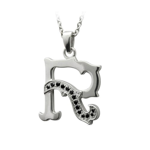 Men's Sterling Silver Alphabet Initial Letter R Black Diamond Pendant Necklace (0.11 Carat) 0.11 Ct Diamond Pendant
