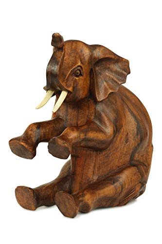 - G6 Collection Wooden Hand Carved Large Sitting Elephant Statue Figurine Sculpture Art Decorative Rustic Home Decor Accent Handmade Handcrafted Decoration Large Elephant