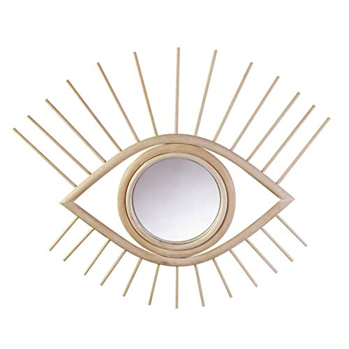 Wall Mirrors Decorative, Handmade Eye Shaped Boho Mirror Wall Decor Of Natural Rattan Wood, Spectacular Artistic Home Decor Mirror, Eco-friendly Real 100% Wood