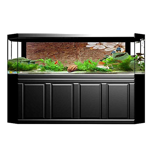 JiahongPan Background Fish Tank Sticker and Leaves on Cracked Wall with Lines Classic Deco Brown G White Aquarium Sticker Wallpaper Decoration L35.4 x H15.7 ()