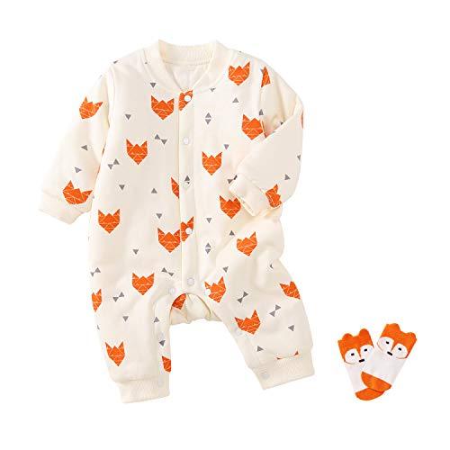 (pureborn Baby Coverall Padded One-Piece Infant Romper Warm Thick Winter Autumn with Socks Set Fox Orange 6-9 Months )