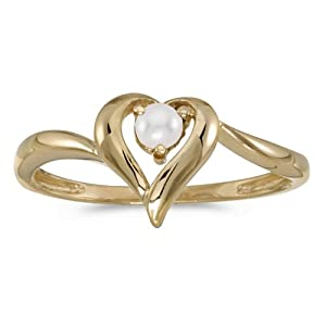 14k Gold Round Cream Pearl Solitaire Heart Shaped Fashion Promise Ring