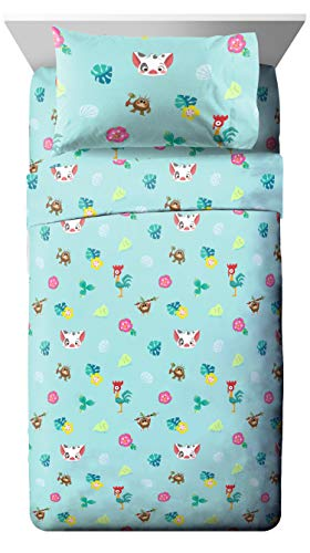 Jay Franco Disney Moana Flower Power Twin Sheet Set - Super Soft and Cozy Kid's Bedding Features HeiHei & Pua - Fade Resistant Polyester Microfiber Sheets (Official Disney Product)