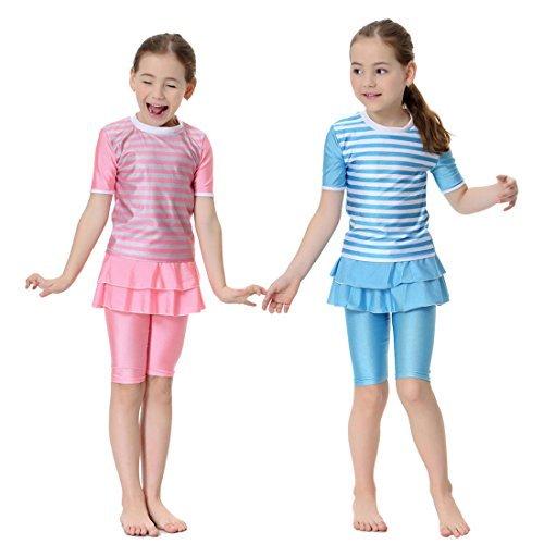 (happy memories New Girls Muslim Swimwears Swim Shorts Two-Piece Swimsuits Islamic Children Arab Islam Beach Wear Swim Suits Burkinis Surf Pants (L, Sky Blue) )