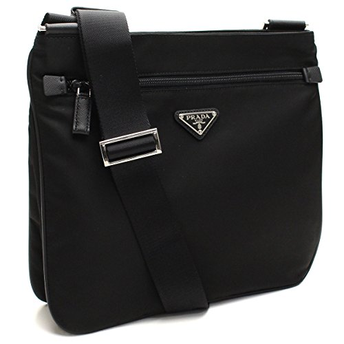 Prada Black Tessuto Nylon & Saffian Leather Crossbody Messenger Travel Bag 2VH563 (Bag Prada Nylon)