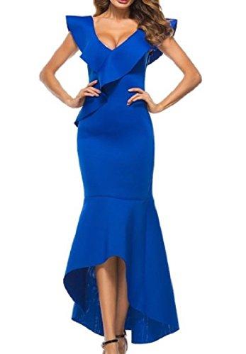 Coolred-femmes Bodycon Solide Volants Jardin Backless V-cou Robe De Soirée Bleue