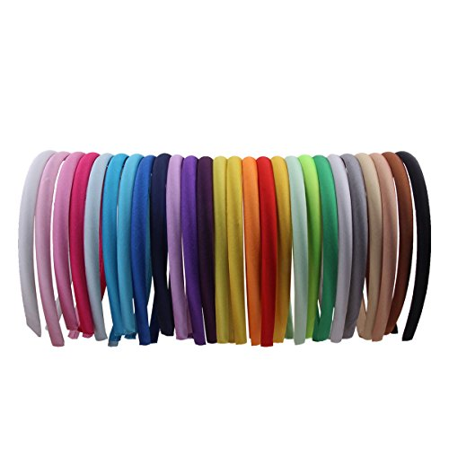 Candygirl Girls' DIY Satin Covered Headbands 1cm Width 36cm Circle Size(26pcs Per Pack Each Color 1pcs) (Kids Headbands)