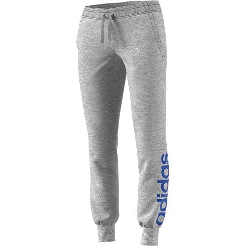 adidas Womens Essential Linear Pants, Gray/Blue, Medium
