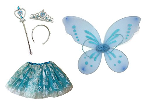 [Rush Dance Queen Elsa Fairy Princess Snowflake Set - Wand, Wings, Tiara & Tutu] (Snowflake Costume For Children)