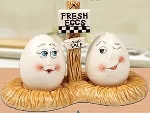 Fresh Eggs With Tray Salt & Pepper Shakers Set Ceramic