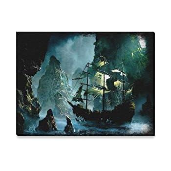 Amazon.com: Nautical Vintage Sailing Pirate Ship Modern Canvas Print ...