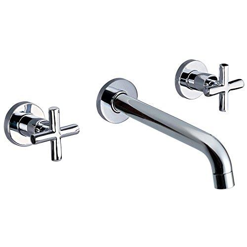 - JiaYouJia Double Cross Handle Wall-Mounted Bathroom Sink Faucet