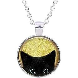 BXzhiri Silver Black Cat Yellow Background Peeking Cute Kitty Pendant Cabochon Necklace Womens Pendant Necklace