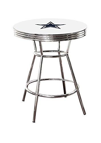 New Cowboys Football Logo Chrome Metal Finish Pub White Bar Table
