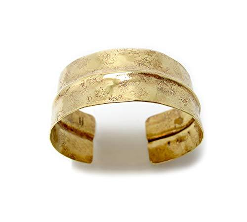 Wide Textured Boho Style Gold Brass Cuff Bracelet 1.2